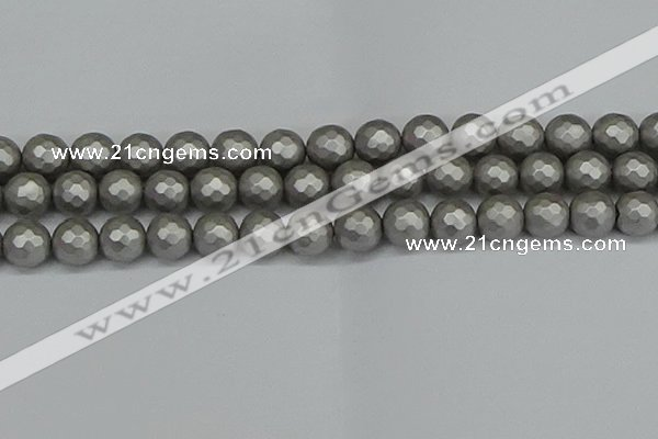 CSB1955 15.5 inches 14mm faceted round matte shell pearl beads