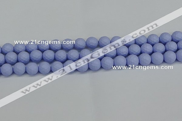 CSB1962 15.5 inches 8mm faceted round matte shell pearl beads