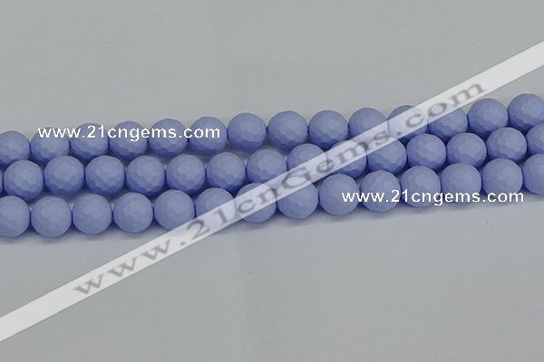 CSB1963 15.5 inches 10mm faceted round matte shell pearl beads