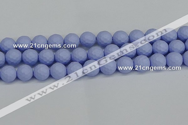 CSB1965 15.5 inches 14mm faceted round matte shell pearl beads