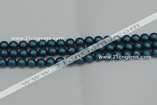 CSB1981 15.5 inches 6mm faceted round matte shell pearl beads