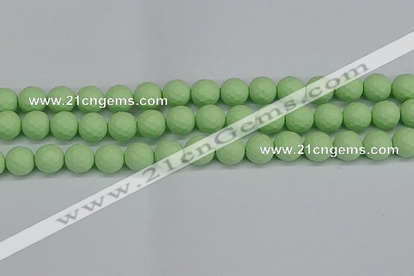 CSB1994 15.5 inches 12mm faceted round matte shell pearl beads