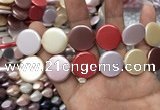 CSB2146 15.5 inches 20mm coin mixed shell pearl beads wholesale