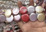 CSB2147 15.5 inches 25mm coin mixed shell pearl beads wholesale
