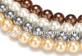 CSB22 16 inches 8mm round shell pearl beads Wholesale
