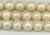 CSB2210 15.5 inches 4mm round wrinkled shell pearl beads wholesale