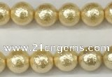 CSB2220 15.5 inches 4mm round wrinkled shell pearl beads wholesale