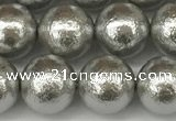 CSB2303 15.5 inches 10mm round wrinkled shell pearl beads wholesale