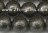 CSB2324 15.5 inches 12mm round wrinkled shell pearl beads wholesale