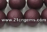 CSB2455 15.5 inches 14mm round matte wrinkled shell pearl beads