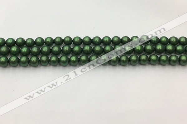 CSB2540 15.5 inches 4mm round matte wrinkled shell pearl beads