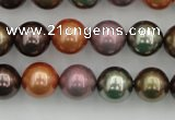 CSB368 15.5 inches 12mm round mixed color shell pearl beads