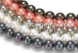 CSB37 16 inches 8mm round shell pearl beads Wholesale