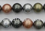 CSB382 15.5 inches 14mm round mixed color shell pearl beads