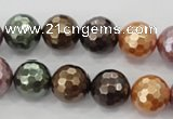 CSB512 15.5 inches 12mm faceted round mixed color shell pearl beads