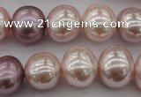 CSB693 15.5 inches 13*15mm oval mixed color shell pearl beads