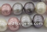 CSB694 15.5 inches 13*15mm oval mixed color shell pearl beads