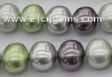 CSB698 15.5 inches 13*15mm oval mixed color shell pearl beads