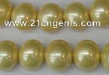 CSB808 15.5 inches 13*15mm oval shell pearl beads wholesale