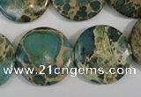 CSE5032 15.5 inches 22mm flat round natural sea sediment jasper beads