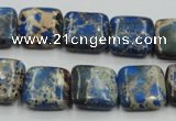 CSE53 15.5 inches 16*16mm square dyed natural sea sediment jasper beads