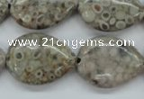 CSF03 15.5 inches 18*25mm flat teardrop shell fossil jasper beads