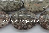 CSF04 15.5 inches 22*30mm flat teardrop shell fossil jasper beads