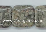 CSF07 15.5 inches 25*25mm square shell fossil jasper beads