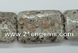 CSF10 15.5 inches 22*30mm rectangle shell fossil jasper beads