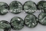 CSH54 15 inches 18mm flat round natural seraphinite gemstone beads
