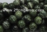 CSJ03 15.5 inches 8mm round green silver line jasper beads wholesale