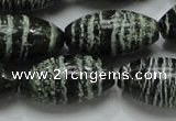 CSJ20 15.5 inches 15*30mm rice green silver line jasper beads