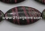 CSJ275 15.5 inches 20*40mm marquise dyed green silver line jasper beads