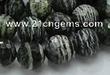CSJ67 15.5 inches 14mm faceted round green silver line jasper beads