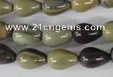 CSL104 15.5 inches 10*14mm teardrop silver leaf jasper beads wholesale