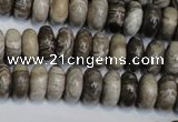 CSL19 15.5 inches 6*12mm rondelle silver leaf jasper beads wholesale