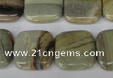 CSL60 15.5 inches 20*20mm square silver leaf jasper beads wholesale