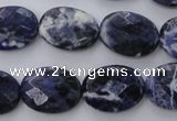 CSO390 15.5 inches 15*20mm faceted oval natural sodalite beads