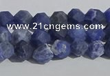 CSO565 15.5 inches 6mm faceted nuggets matte sodalite beads