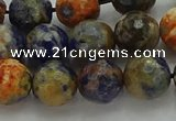 CSO753 15.5 inches 10mm faceted round orange sodalite beads