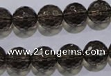 CSQ105 15.5 inches 14mm faceted round grade AA natural smoky quartz beads