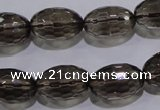 CSQ114 12*18mm faceted rice grade AA natural smoky quartz beads
