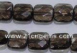 CSQ121 15*15mm facetad square grade AA natural smoky quartz beads