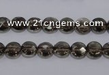 CSQ122 8mm faceted flat round grade AA natural smoky quartz beads
