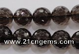 CSQ132 15.5 inches 16mm faceted round grade AA natural smoky quartz beads