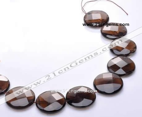 CSQ22 AB grade 30mm faceted coin natural smoky quartz beads