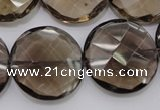 CSQ220 15.5 inches 25mm faceted coin grade AA natural smoky quartz beads