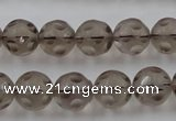 CSQ253 15.5 inches 12mm carved round matte smoky quartz beads