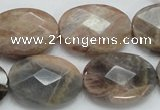 CSS108 15.5 inches 18*25mm faceted oval natural sunstone beads wholesale