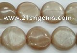 CSS204 15.5 inches 18mm flat round natural sunstone beads
